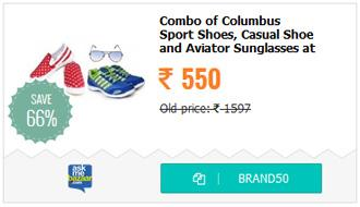 Combo Pack Of Columbus Sport Shoe, Combit Casual Shoe and Pede Milan Aviator Sunglasses