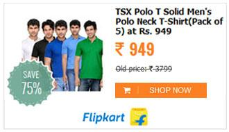 TSX Solid Mens Polo Neck Multicolor T-Shirt
