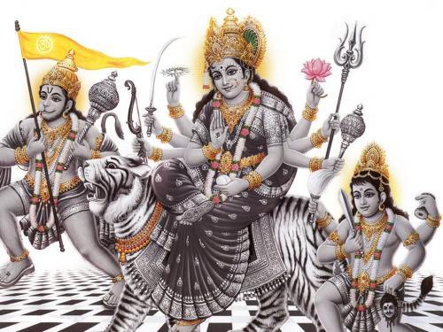 Maa Durga with Hanuman and Bharon