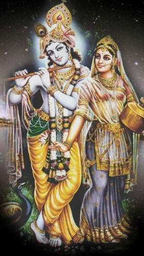 Lord Krishna with Radha Mobile Wallpaper
