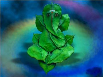 Ganeshji on Leaf Wallpaper