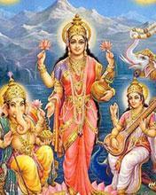 Ganesh Ji with Lakshmi Ji and Saraswati Ji Mobile Wallpaper