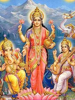Lakshmi, Saraswati and Ganesha Wallpaper