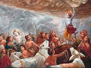 Krishna Ji lifting Goverdhan parvat Mobile Wallpaper