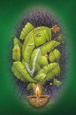 Ganesh ji on Banana leaf Mobile Wallpaper